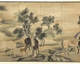 "1909, Japanese antique woodblock print, Yosa Buson, ""Wild Horses""."