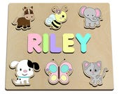Favorite Best Friends Custom Personalized Wooden Name Puzzle Wood Baby Toy Horse, Bee, Elephant, Dog, Cat, Butterfly, Kitty, Puppy 477403000