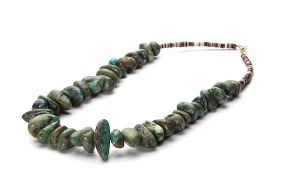 Lg Nevada Turquoise Necklace, Navajo Handmade heishe shell and chunky stones wedding