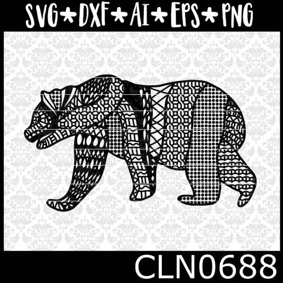 CLN0688 Patterned Bear Intricate Mandala Mama Zentangle SVG DXF Ai Eps PNG Vector Instant Download Commercial Cut File Cricut Silhouette