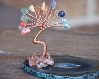 Hand Crafted Mixed Crystal Tree on Blue Agate Crystal Slice