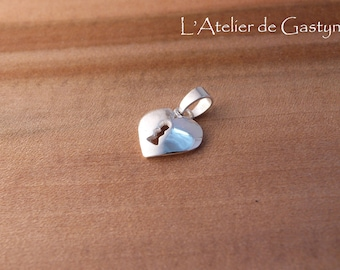 Silver heart pendant and wood, inlay made entirely by hand
