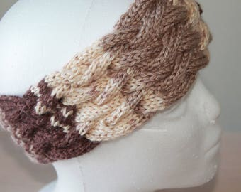 Knit headband with woven cable design