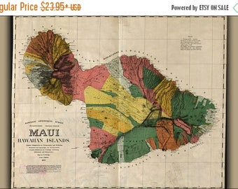40% OFF SALE Poster, Many Sizes Available; Map Of Maui Hawaii 1885
