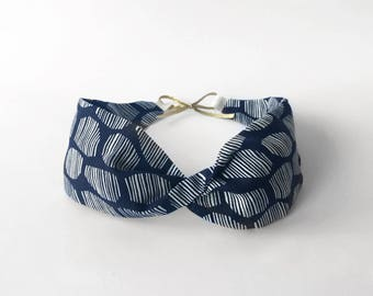 Blue and white cotton headband