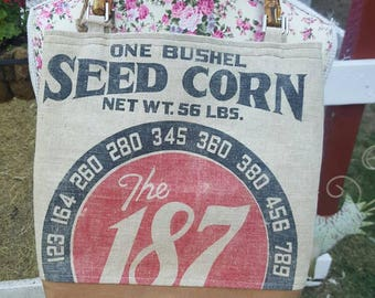 Vintage Feedsack purse, bucket purse,  vintage seed bag,grain sack purse,feedsack tote,187 seed corn,farmhouse style, great gift idea