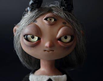 RESERVED - DEMON GIRL Posable Art Doll ooak