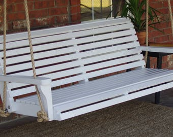 Brand New 6 Foot Painted Classic White Porch Swing - with Hanging Chain or Rope - Free Shipping