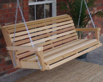 Brand New 6 Foot Cedar Wood Classic Porch Swing with Hanging Chain - Free Shipping