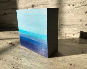 Mini Abstract Landscape . 4 in x 4 in . Acrylic on Panel