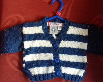 Hand knitted cardigan to fit a baby boy aged 0-3 months old