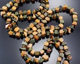 """Vintage 70s Chunky Beaded Necklace 56"""" Long Boho Hippie Earthy Estate Jewelry"""