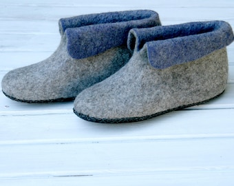 Cozy Up Warmest Gift Felted wool slipper boots Grey Organic wool felt boots Boiled wool shoes valenki Ugg boots House shoes