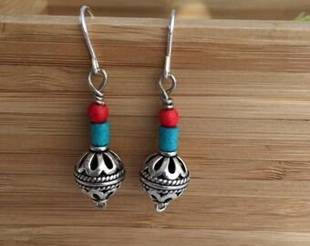 Ornate Silver Bead earrings