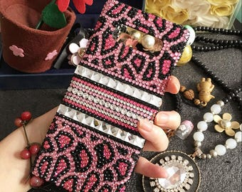 Fashion Cheetah Style Bling Pink Leopard Print Colorized Gems Crystals Rhinestones Diamonds Jewelry Lovely Hard Cover Case for Mobile Phones
