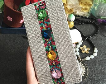 Slot Cards Holder Flip Wallet Leather Fashion Round Gems Luxury Silver Crystals Rhinestones Diamonds Jewelry Lovely Cover for Mobile Phones