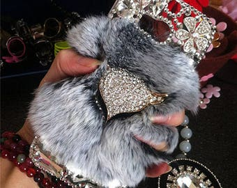 New Bling Luxury Gray Soft Fluffy Fur Furry Fox Lovely Fashion Sparkles Charms Crystals Rhinestones Diamonds Gems Hard Case for Mobile Phone