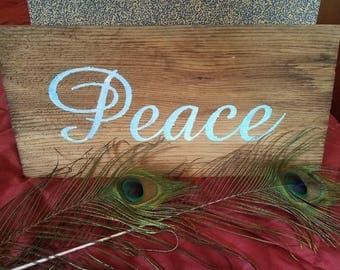 "7.5"" x 15.5"" Cedar Shingle ""PEACE"" hand painted Sign wood"