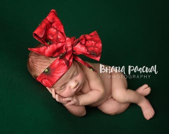 RUBY POPPY Gorgeous Wrap- headwrap; fabric head wrap; floral head wrap; boho; newborn headband; baby headband; toddler headband
