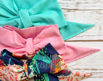 Gorgeous Wrap Trio (3 Gorgeous Wraps)-Turquoise, Dusty Rose & Navy Hydrangea Gorgeous Wraps; headwraps; fabric head wraps
