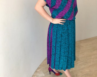 1980s retro teal and magenta midi dress size 12/14