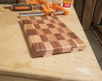 Cutting board, checker, bread board, wood cutting board, end grain, cherry, walnut, sliding dovetail, wedding gift, cheeseboard, cookware