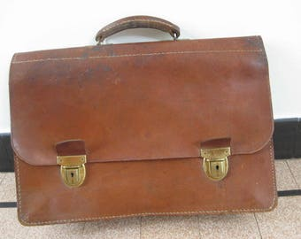Vintage French brown leather schoolbag, briefcase, messenger bag from the fifties..