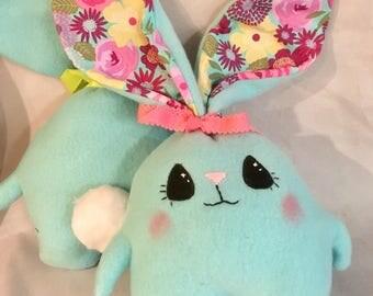 "Soft  and Huggable Blue Fleece Bunny Rabbit  7"" (not counting ear length)"