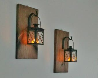 Rustic Wall Mounted Lantern Set, Rustic Decor, Farmhouse, Country Decor, Wall Hanging Lantern Set, Lantern Lights