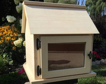 Unfinished *Solid Wood* Little Library Kit. Neighborhood Library, Book Box. Lending Library. Book Exchange. *Fully Assembled*-Made in USA