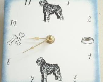 """Ceramic tile Bouvier des Flanders dog clock, 6"""" square, blue border"""
