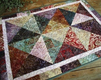 Modern Rustic Batik Quilted Table Runner, Table Topper, Masculine Quilt, Purple Diamond Contemporary Quilt, Bridal Shower Gift for Home