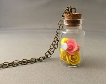 Bright yellow and bright pink roses charm necklace, Beauty and the Beast, roses, glow in the dark roses, rose charm necklace
