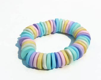 Bracelet elastic faux candy polymer clay