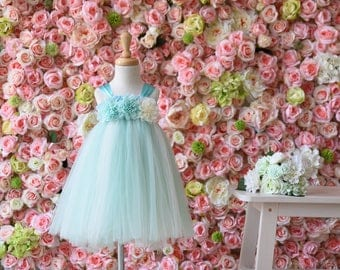 Tulle Girl dress wedding bridal recital children green white