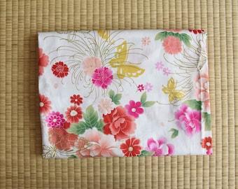 Japan kimono yukata chinese cheongsam flower buterfly white Fabric 1/2 yard