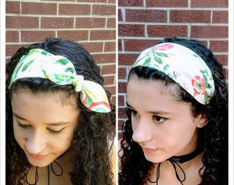 Bright tropical floral headband, bow headband, stretchy headband, knotted hair tie, 50's headwrap, beach hair wrap, colorful hair tie