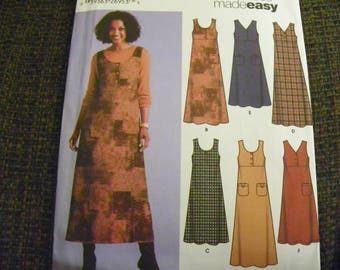Sewing Pattern - Simplicity 5454 - Six Dresses Made Easy! - Misses' Jumper In Two Lengths With Bodice Variations - Size KK 8 - 10 - 12 - 14