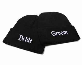 Bride and Groom Beanies, Bride and Groom Hats, Bride and Groom, Couple Hats, Embroidered Beanies, Beanies with Words