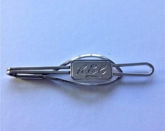 Vintage Tie Clip, Engraved Tie Pin, Silver Plated Tie Pin, Circa 1960, Vintage Wedding
