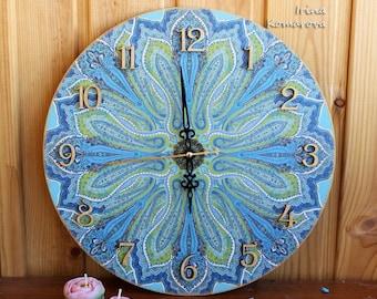 Mandala wooden clock, turquoise wall decor, ethno style