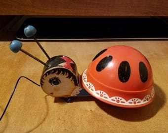 Vintage Fisher Price Ladybug pull toy - 1961