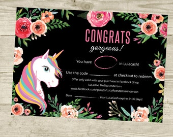 PRINTABLE Cash Coupon, LulaCash, Gift Certificate Card, Lula Bucks Cash, Unicorn and Flowers, Digital File LLR031