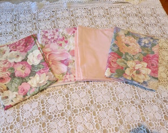 4 x pillowcases,  mismatched, bed linen, floral, pillow cases, pillow slips, abstract, cotton, blue green,
