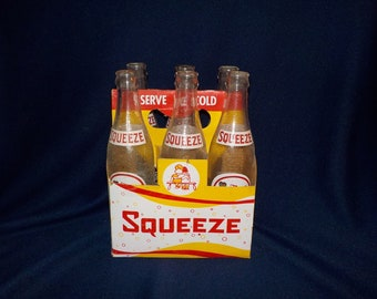 Six Pack of Squeeze 12 ounce ACL Glass Soda Bottles with Original Carrier