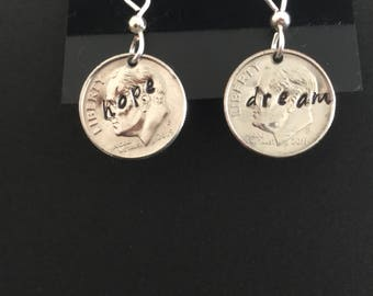 Hand Stamped Coin earrings