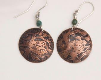 Copper Birds Branch Earrings