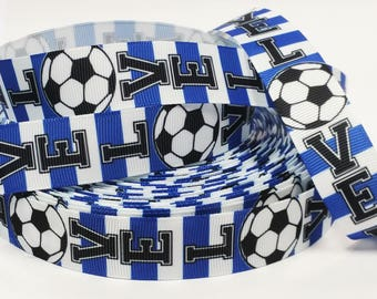 "7/8"" inch LOVE SOCCER Blue White Colors Sports Printed Grosgrain Ribbon for Hair Bow - Original Design"