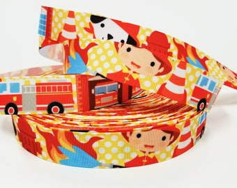 """7/8"""" inch Firefighters Fight Truck Fire Station Whites dots on Yellow  Printed Grosgrain Ribbon for Hair Bow - Original Design"""