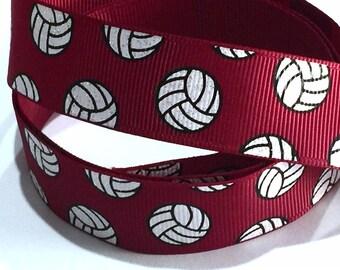 7/8 inch Volleyball Glitter on Maroon Burgundy Printed Grosgrain Ribbon for Hair Bow  Sports - Original Design